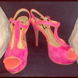 Type Z Pink & Orange Suede Heels